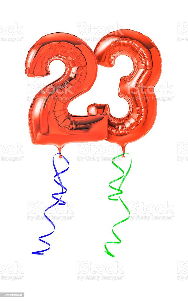 Red balloons with ribbon - Number 23 stock photo