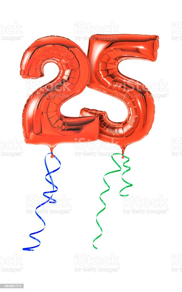 Red balloons with ribbon - Number 25 stock photo
