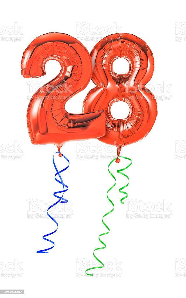 Red balloons with ribbon - Number 28 stock photo