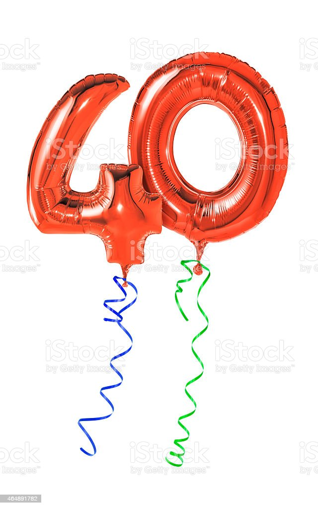 Red balloons with ribbon - Number 40 stock photo