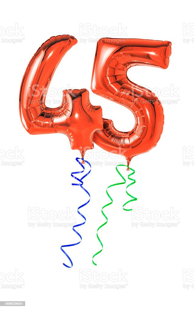 Red balloons with ribbon - Number 45 stock photo