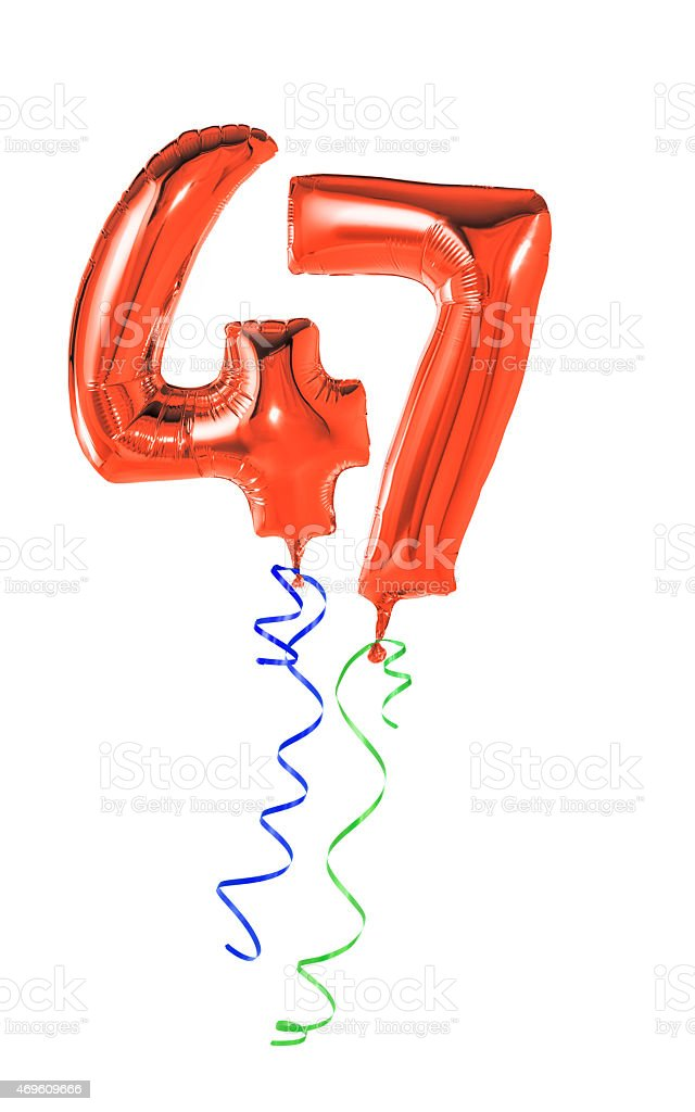 Red balloons with ribbon - Number 47 stock photo