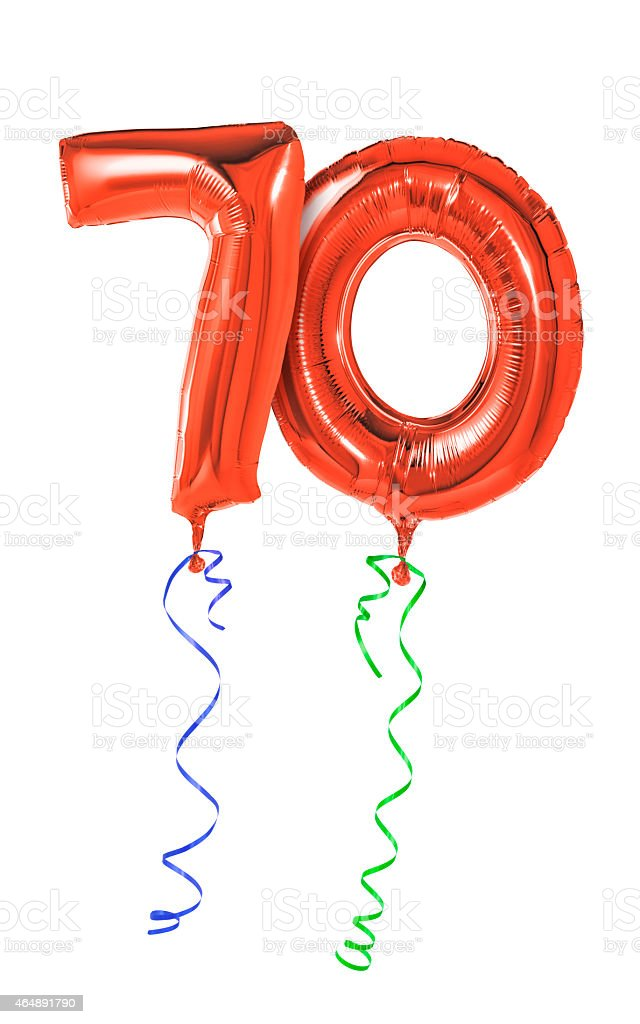 Red balloons with ribbon - Number 70 stock photo