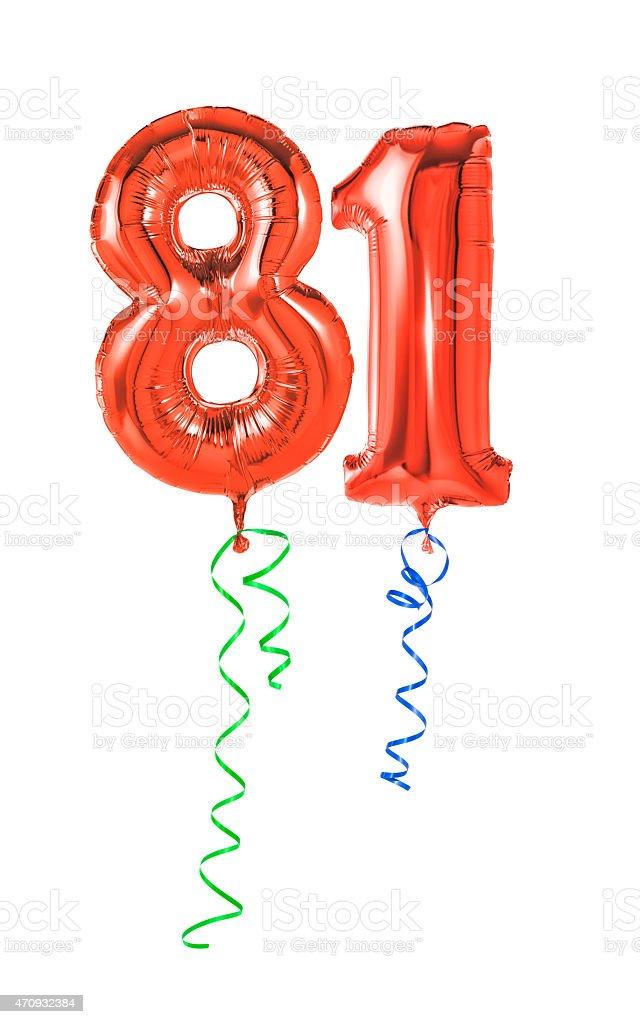 Red balloons with ribbon - Number 81 stock photo