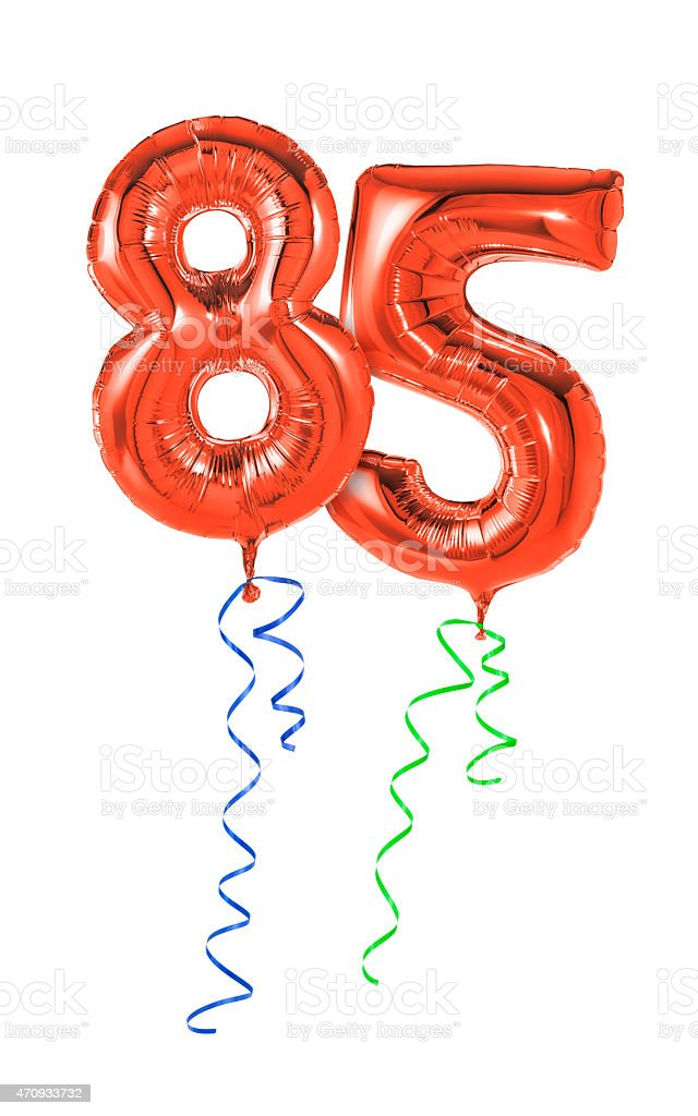 Red balloons with ribbon - Number 85 stock photo