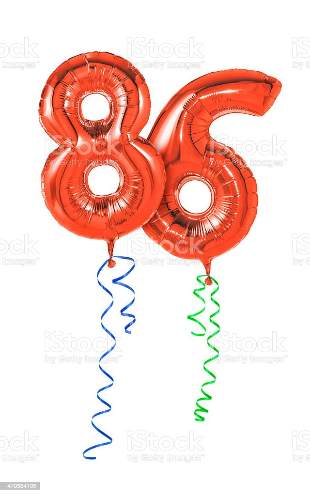 Red balloons with ribbon - Number 86 stock photo