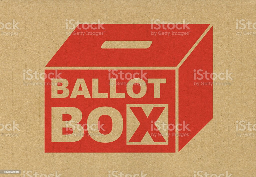 Red ballot box icon printed of brown paper stock photo