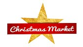 Red banner with christmas star and lettering Chrismas Market
