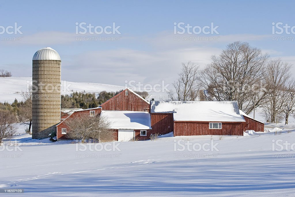 Red Barn and Silo on a Winter Morning royalty-free stock photo