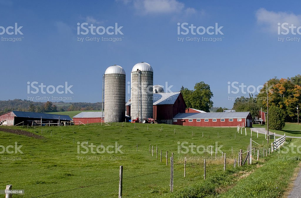 Red Barn and Silos royalty-free stock photo