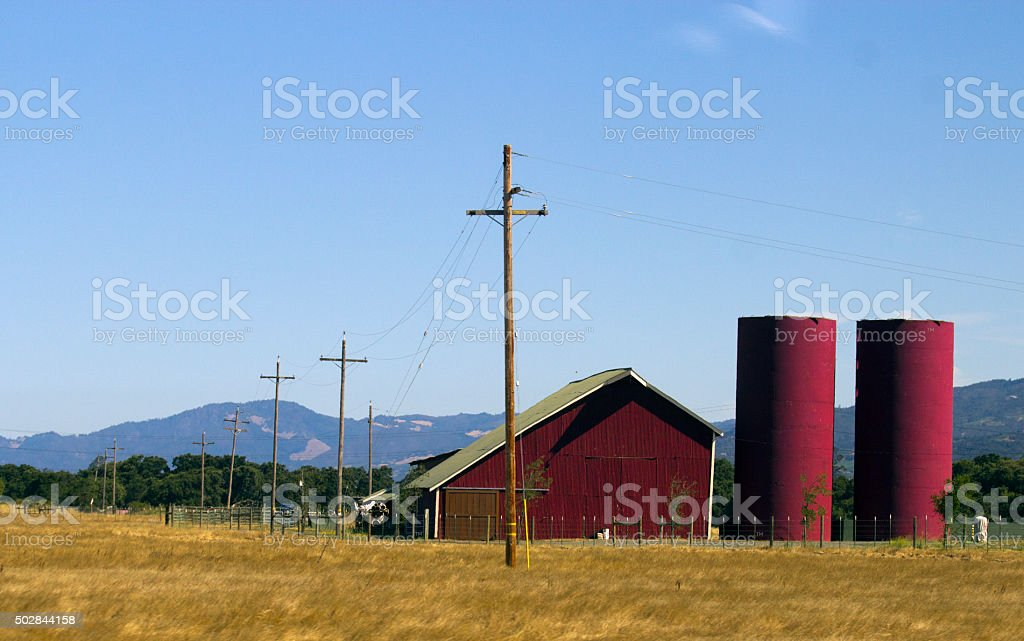 Red Barn And Silos stock photo