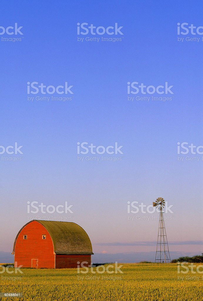 Red Barn and Windmill royalty-free stock photo