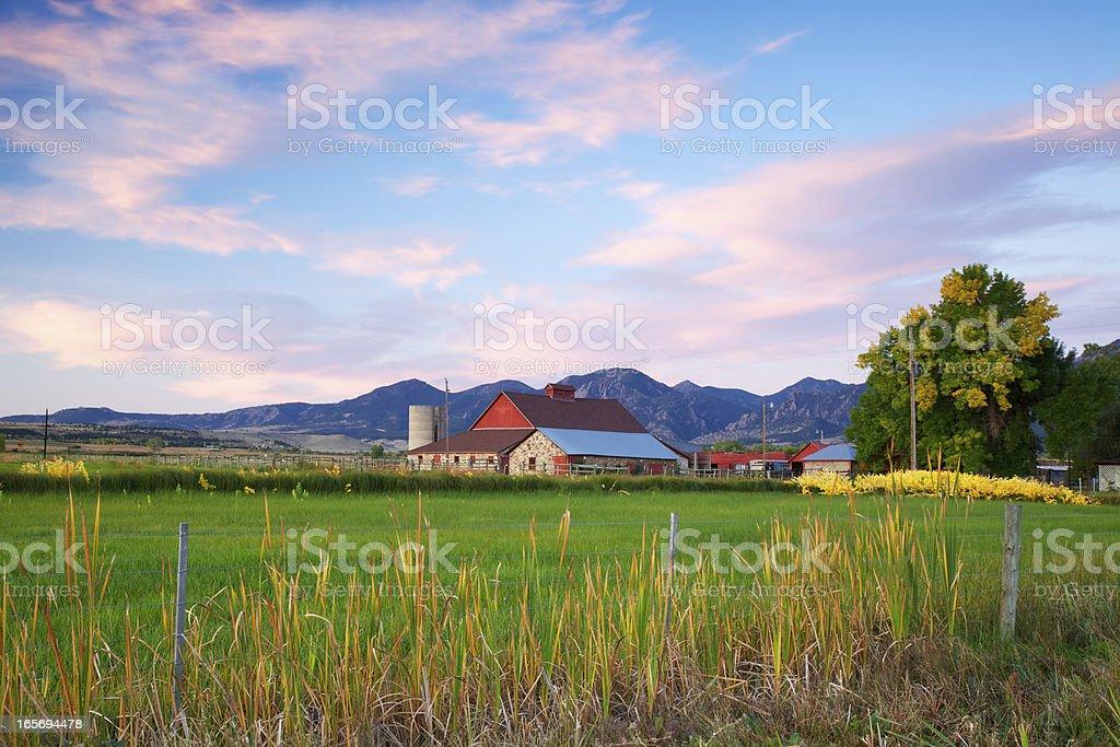 Red Barn at Sunrise stock photo