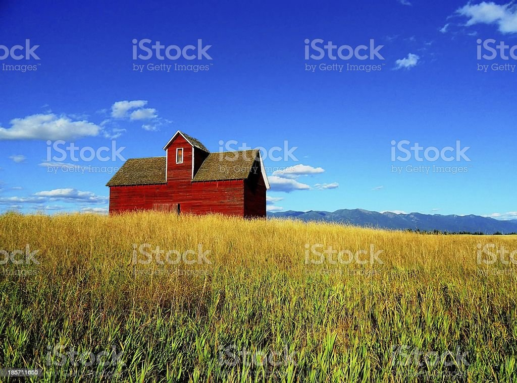 Red Barn - Big Sky stock photo