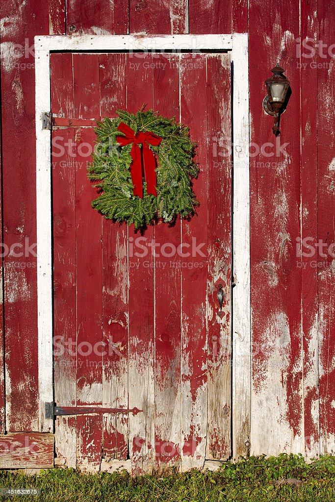 red barn door. Red Barn Door With Christmas Wreath Royalty-free Stock Photo