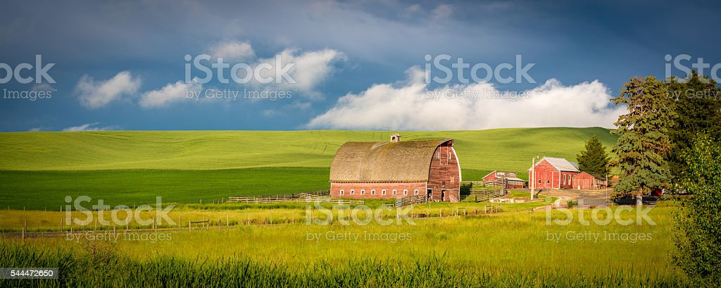 Red barn in farm country of Idaho stock photo