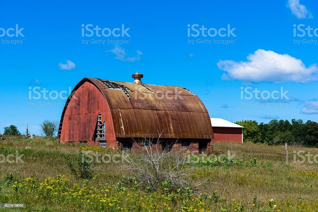 Red Barn in Northern Michigan stock photo