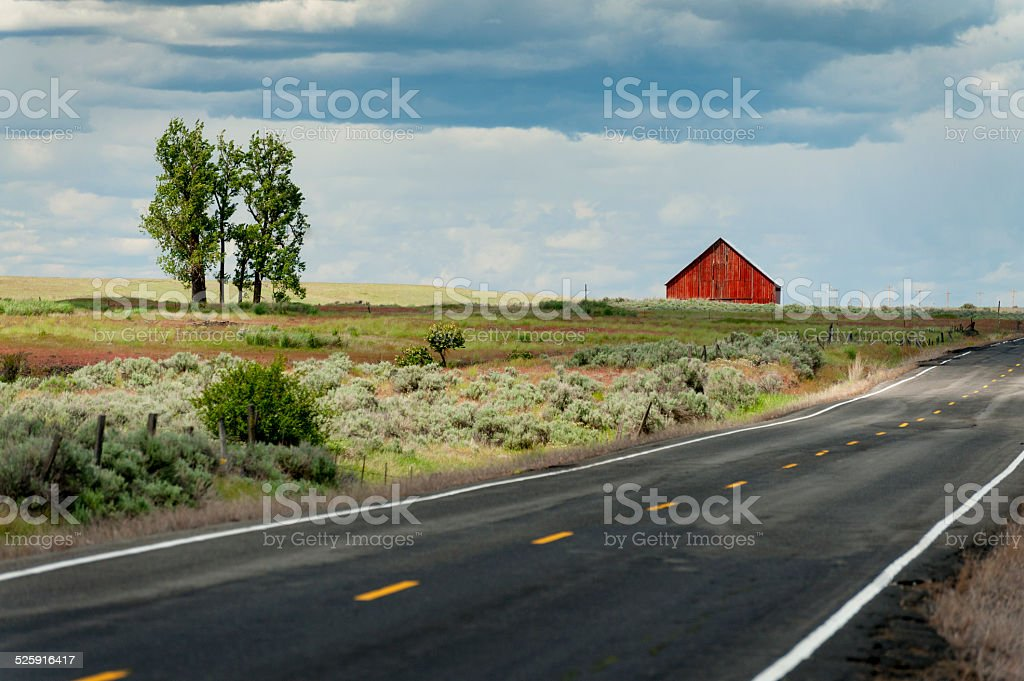 Red Barn in the Palouse stock photo