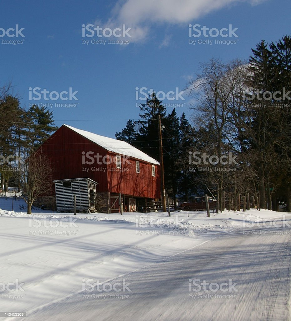 Red Barn in Winter royalty-free stock photo