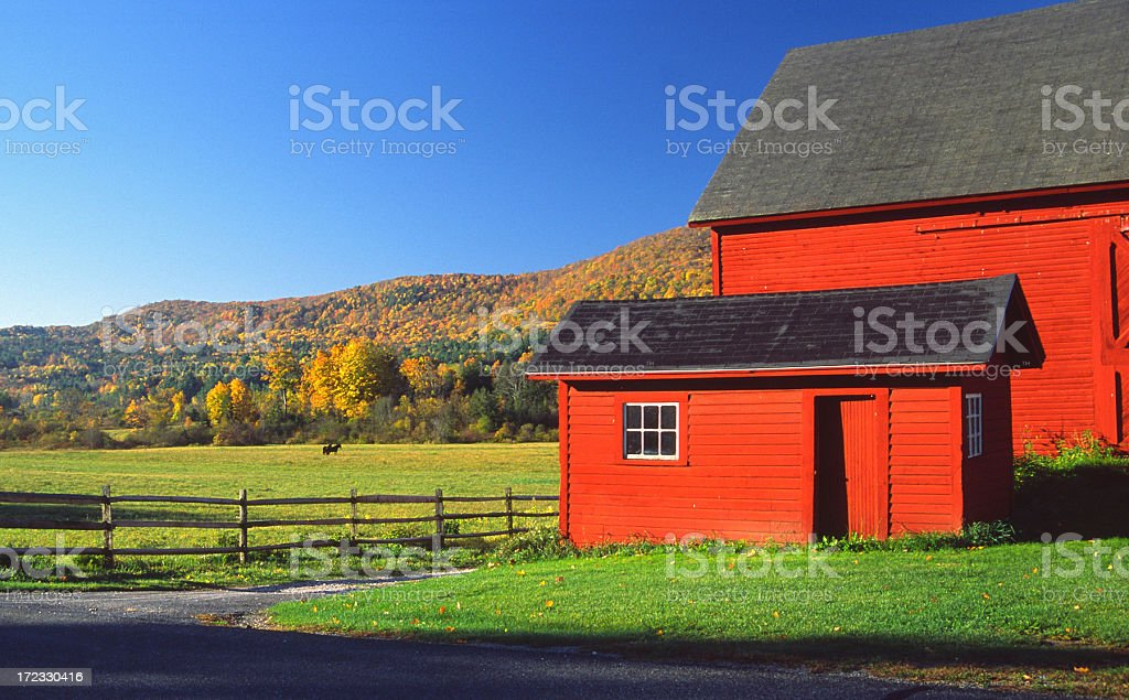 Red Barn nestled in the  Bershire Hills stock photo