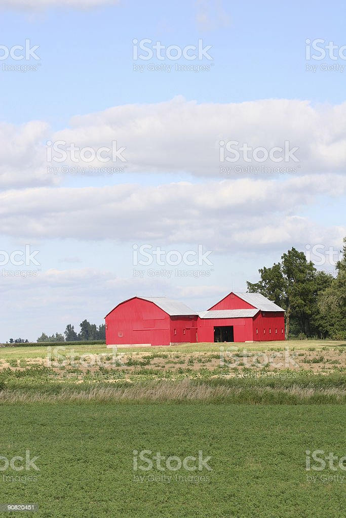 Red Barn on a Perfect Summer Day stock photo