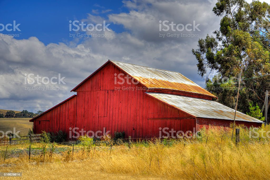 Red Barn On A Ranch In Rural California stock photo
