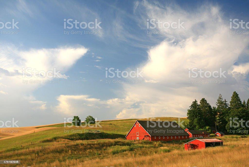 Red Barn on the Palouse Region of Washington stock photo