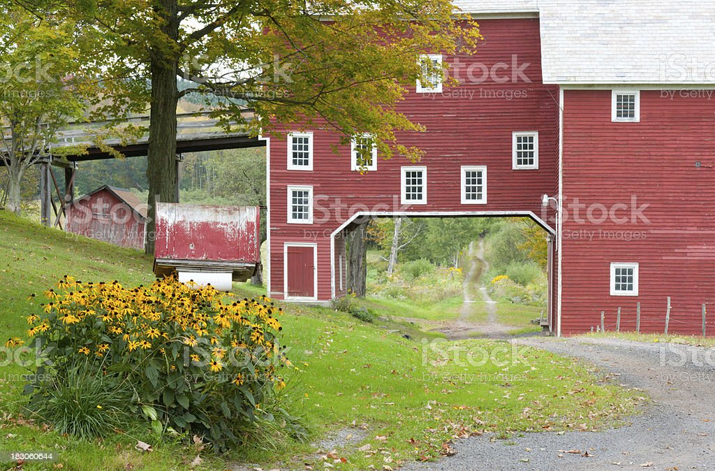 Red Barn Over Road royalty-free stock photo
