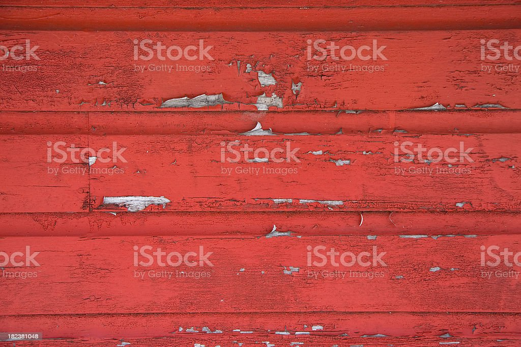Red Barn Side Peeling Paint stock photo