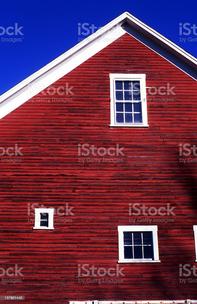 Red Barn Siding against blue sky royalty-free stock photo