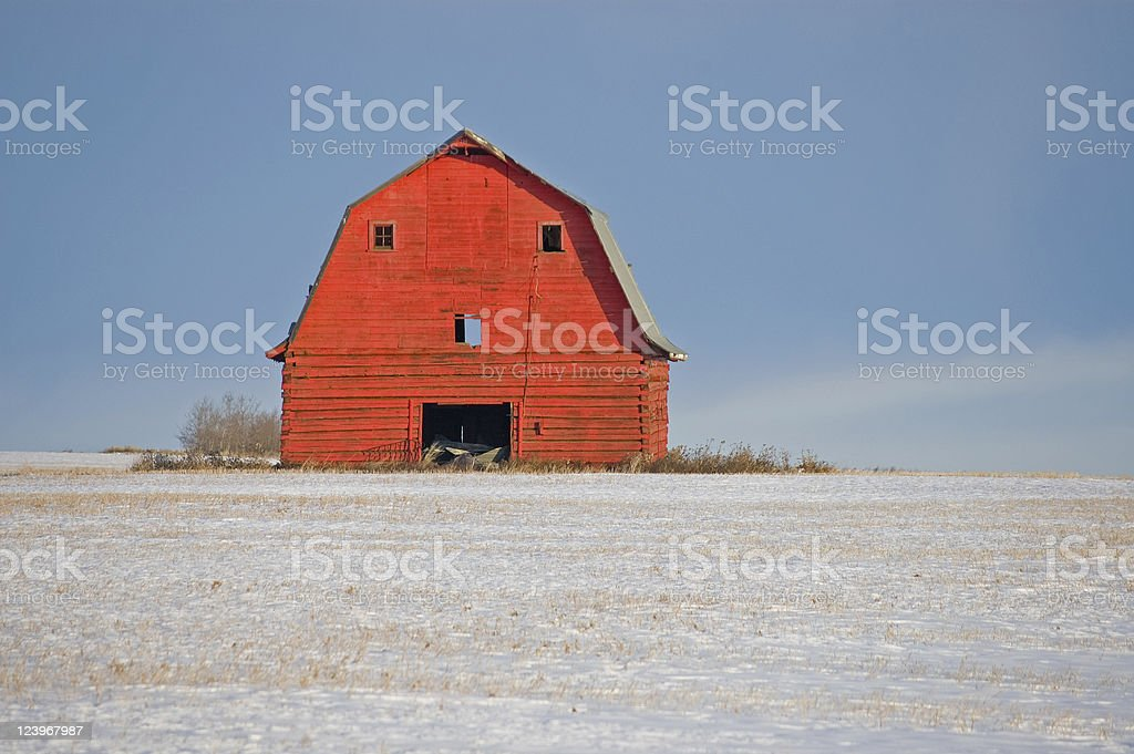 red barn snowy stubble royalty-free stock photo