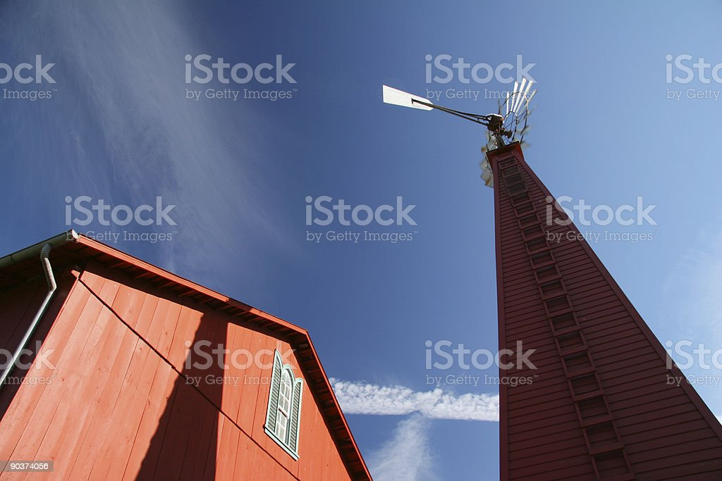 Red Barn, Windmill, Blue Sky, Farm, Dayton, Ohio stock photo