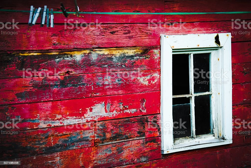 Red Barn With Clothesline royalty-free stock photo