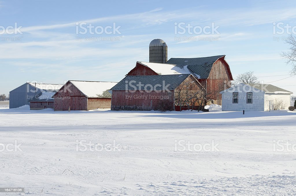 Red Barns and Silo royalty-free stock photo