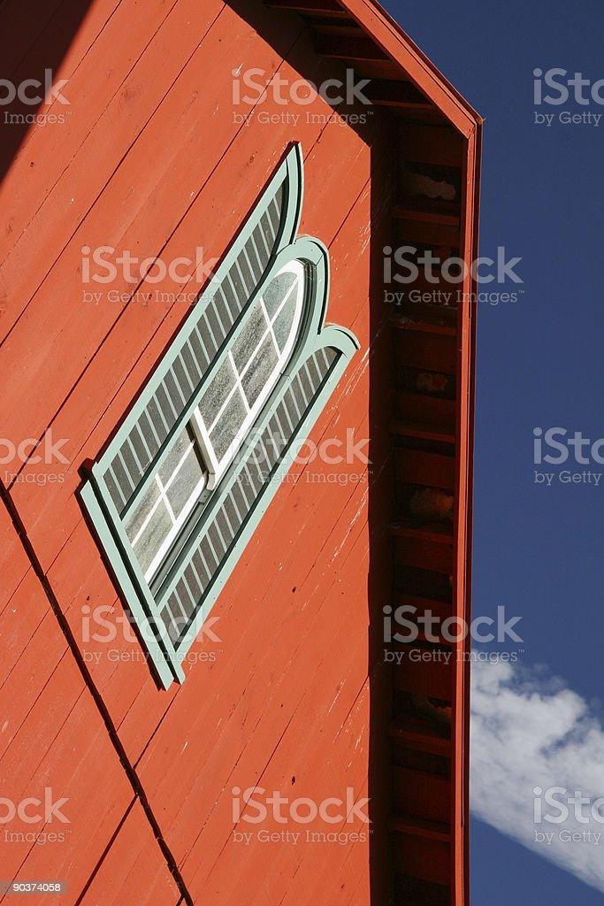 Red Barn,White Window, Blue Sky, Farm, Dayton, Ohio stock photo