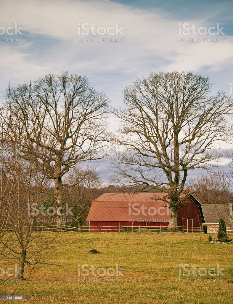 Red barnyard in Tennessee stock photo
