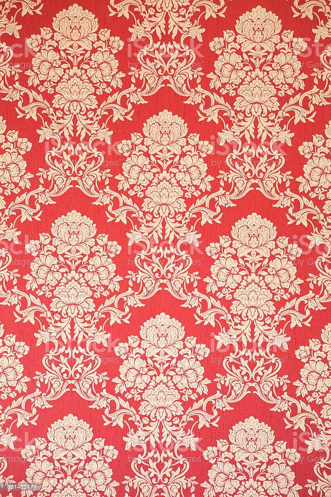 rojo barroco de papel tapiz con una decoracin rosa foto de stock libre de derechos