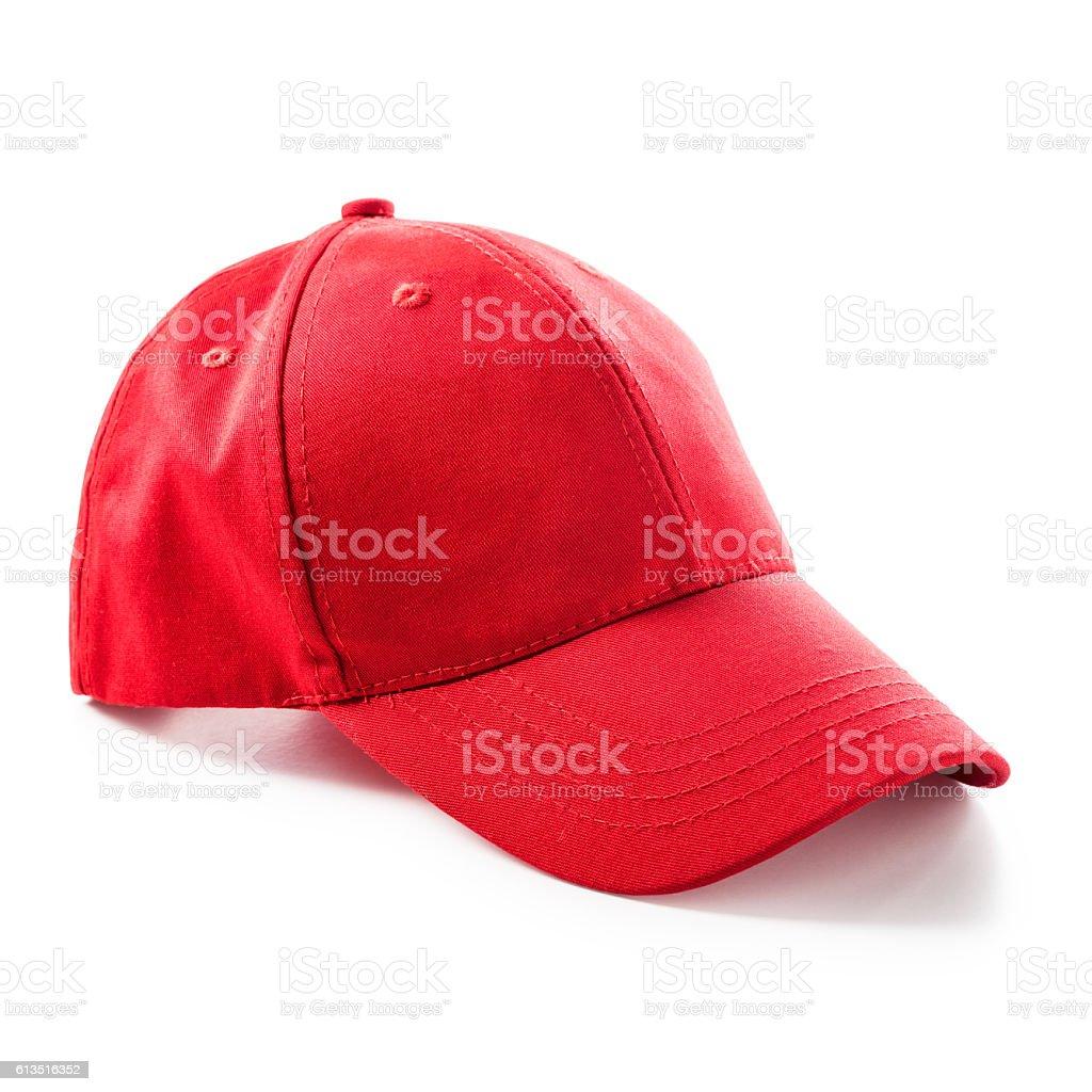Red baseball cap stock photo