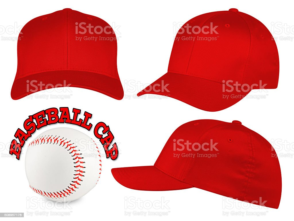 red baseball cap set stock photo