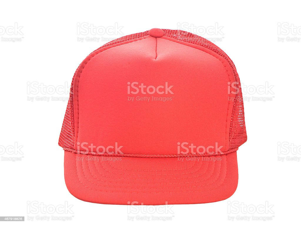 Red baseball hat isolated on white stock photo