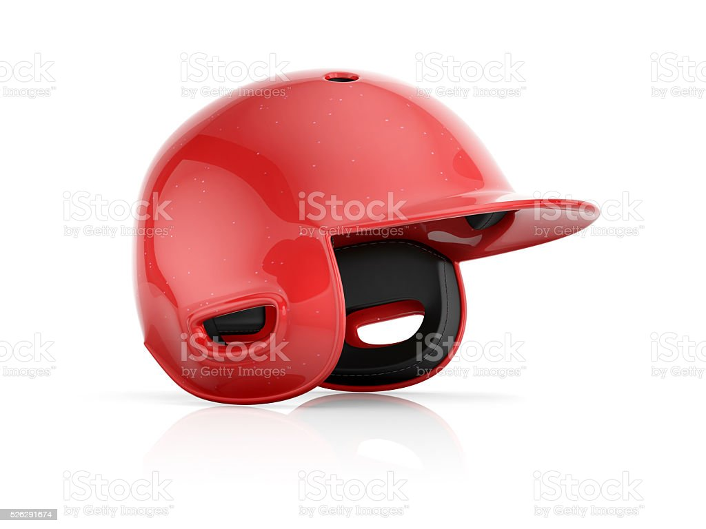 Red baseball helmet isolated on a white background stock photo