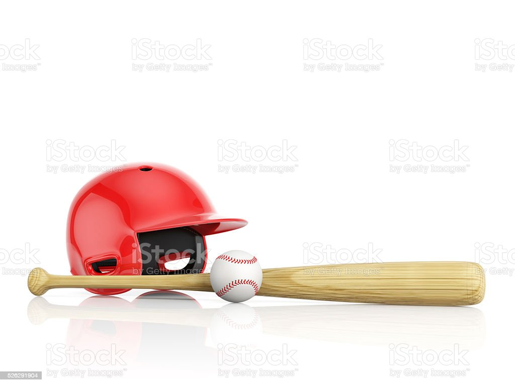 Red baseball helmet, wooden bat and white leather ball stock photo