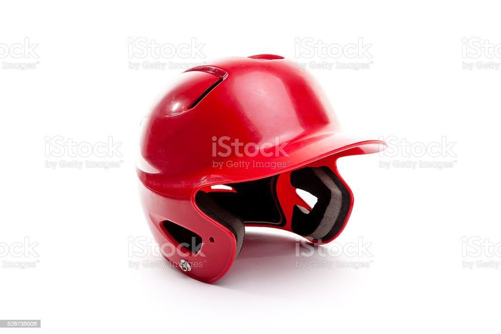 Red Baseball or Softball Batting Helmet on White Background stock photo