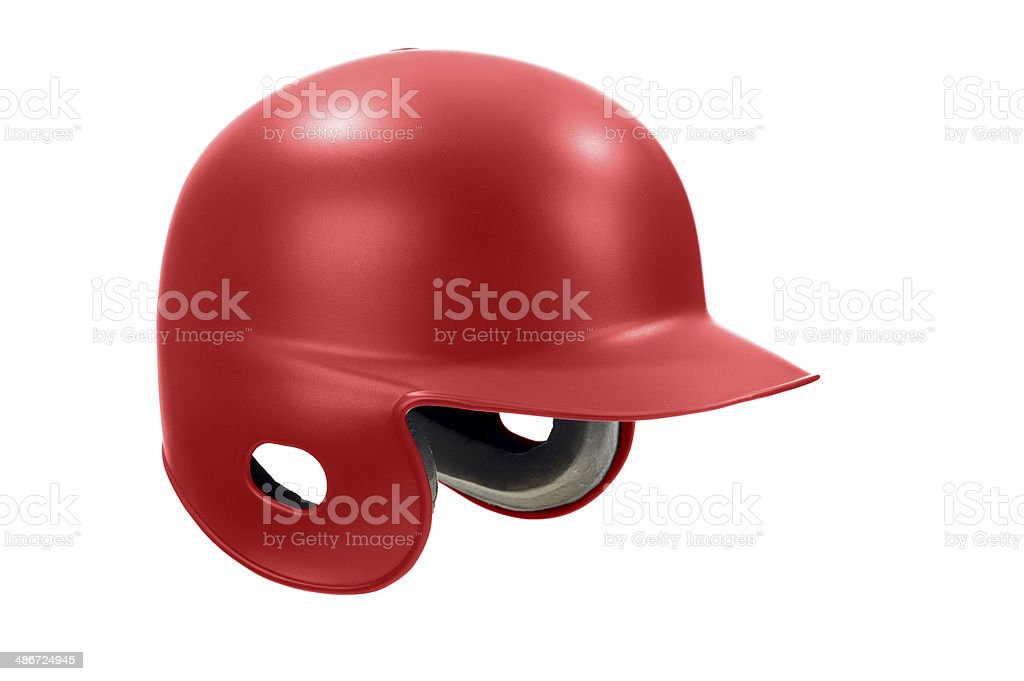 Red Baseball / Softball Batting Helmet against white background stock photo