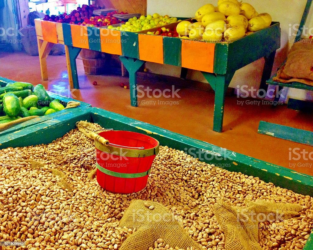 Red Basket with Beans and Fruit stock photo