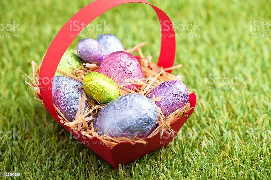 Red basket with Chocolate Easter eggs royalty-free stock photo