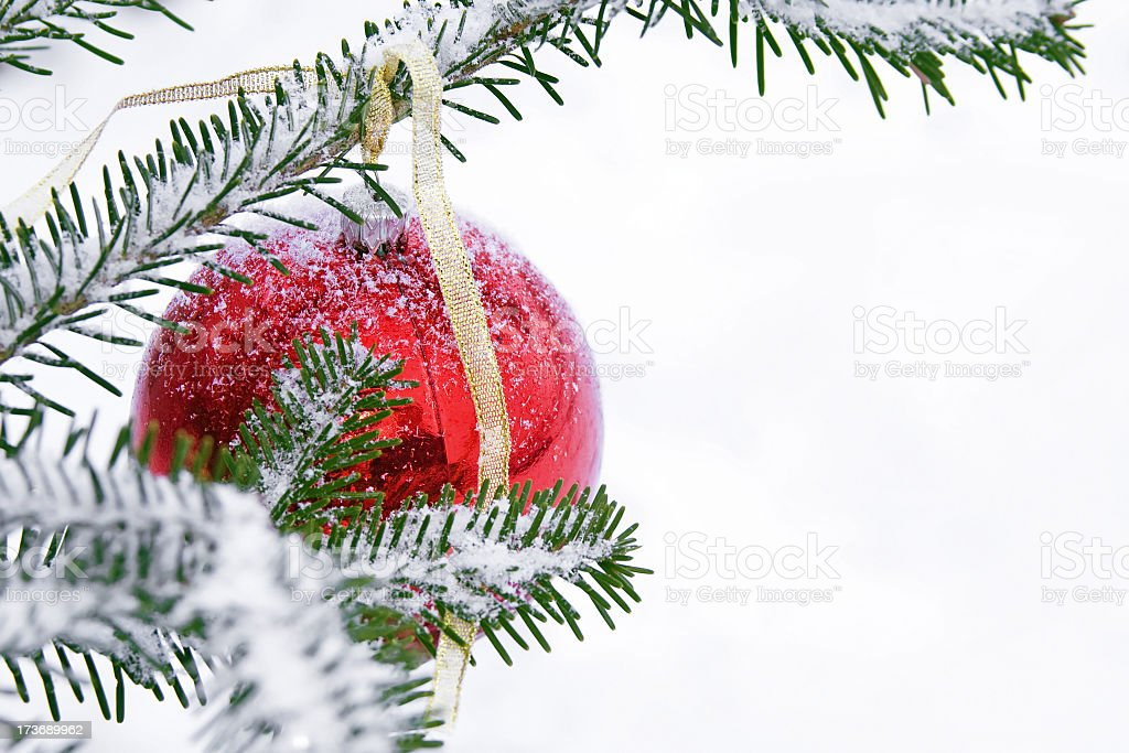 Red Bauble and snow royalty-free stock photo