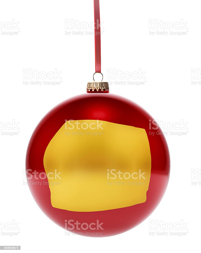 Red bauble with the golden shape of Equatorial Guinea.(series) stock photo