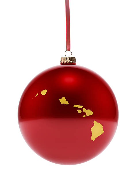 Red Bauble With The Golden Shape Of Hawaii