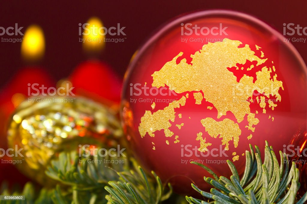 Red bauble with the golden shape of Hong Kong.(series) stock photo